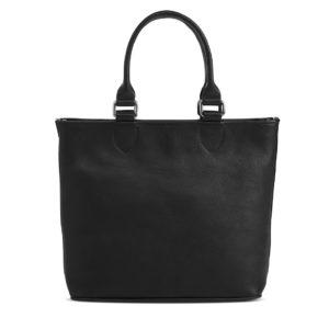 Damenhandtasche von der firma Sonnenleder aus Leder in schwarz mit Metalringe am Trageriemen.