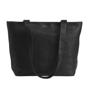 Große Shoppertasche aus Leder in schwarz von der Marke Sonnenleder.