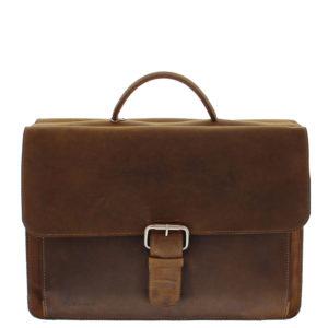 Klassische Aktentasche in braun. Frontbild. Die Tasche hat eine Klappe, ein Handgriff und eine Schließe. Die Aktentasche wird mit ein Steckverschluss geschlossen.