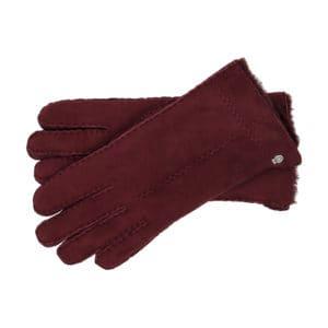 Lammfell Handschuhe. Farbe Weinrot mit eine dekorative naht am Handrücken
