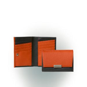 Damenportemonnaie Journal aus Leder in Schwarz und Orange